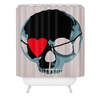 Amy Smith Blue Skull With Heart Eyepatch Shower Curtain