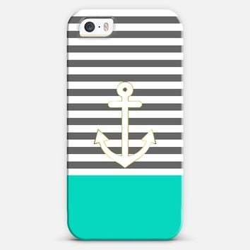 Gray Stripes Nautical Anchor Teal iPhone 5s case by Organic Saturation | Casetagram