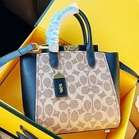 COACH Fashion new pattern print leather shopping leisure shoulder bag handbag crossbody bag