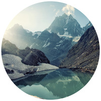 Mountain's Reflection Circle Wall Decal