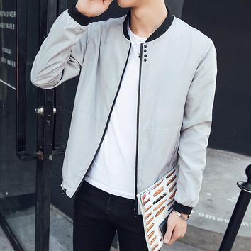 2018 men's spring a new jacket Wave type of cultivate one's morality collar pure color jacket