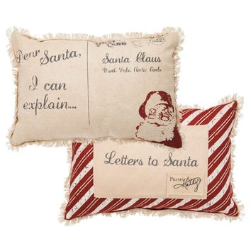 Dear Santa Postcard Pillow