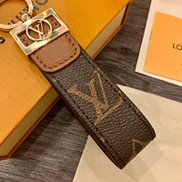 Louis Vuitton Genuine Leather Keychain Short Keyring Men's and Women's Keychains Old Flower Bag
