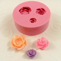 Rose Cabochon Asst. Sizes 3 Cavity Flexible  Mold  for Crafts, Jewelry,  (Utee, resin, paper,  pmc, plaster, epoxy, polymer clay) (183)
