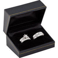 Sterling Silver Complete Trio Diamond Wedding Set His and Hers Wedding Rings, Diamond Engagement Ring, Wedding jewelry Set