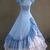 Gothic Victorian Sky Blue and White Short Sleeeves Simple Fashion Lolita Dress