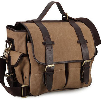 Light Coffee Canvas NIkon /Canon Camera Bag Shoulders Canvas with Leather Padded Insert Canvas Camera Bag 1Camera 2 Lens Hand Crafted DSLR
