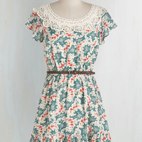 Vintage Inspired Short Length Short Sleeves Mini Journey to the Pastoral Dress by ModCloth