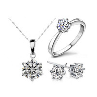 2016 Hot Sale Silver Fashion Jewelry Sets Crystal Statement Necklace & Earrings & Rings New Arrival Fine Jewelry Set for Women
