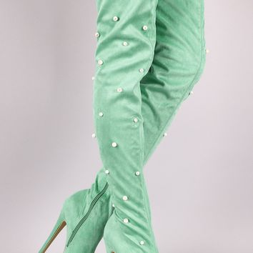 Suede Pearl Embellished Pointy Toe Stiletto Platform Thigh High Boots