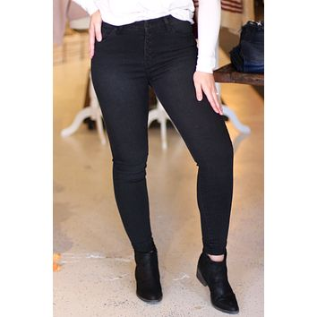 Miley Black Button Fly Skinny Jeans