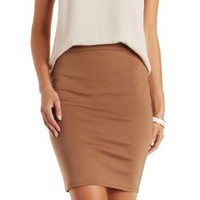 Camel Bodycon High-Waisted Pencil Skirt by Charlotte Russe
