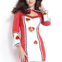 Red and White Long Sleeve Cut-Out Peter Pan Collar with Lace Ruffle Accent Mini Dress