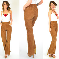 high-waisted BRONZED western hipster CORDUROY bohemian hippie TROUSERS, extra small