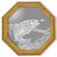 """Swim Meet Trout"" Fishing Etched Glass Art Mirrors"