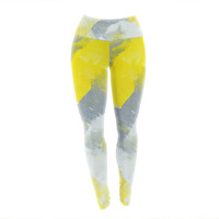 "CarolLynn Tice ""Make A Mess"" Yellow Gray Yoga Leggings"