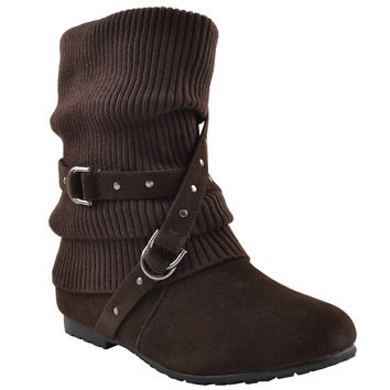 Womens Ankle Boots Slouch Knitted and Suede Cross Strap Buckles Brown