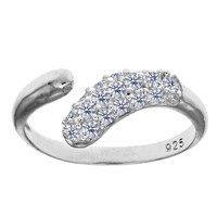 Sterling Silver Rhodium Plated Micropave With CZ By Pass Style Adjustable Toe Ring