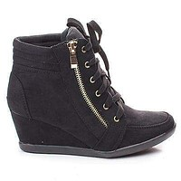 Peggy56 By Forever, Zipper Round Toe Lace Up Ankle Wedge Bootie