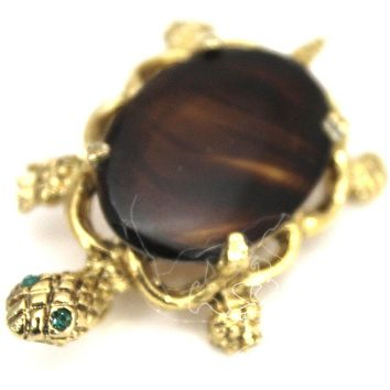 "Vintage Turtle Brooch Faux Tortoise Glass 1 1/2"" Gold Tone Cute 1960s"