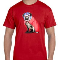 Pug In A Wrestling Mask And Cape Mens T Shirt
