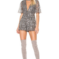X by NBD Maxwell Romper in Silver Sequin | REVOLVE