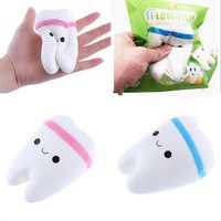11cm Simulation Cute Teeth Soft Squishy Phone Charms Super Slow Rising Ballchain Kid Toy With Original Packing