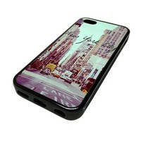 Apple iPhone 5 or 5S Case Cover Skin New York City Quote Hipster DESIGN BLACK RUBBER SILICONE Teen Gift Vintage Hipster Fashion Design Art Print Cell Phone Accessories