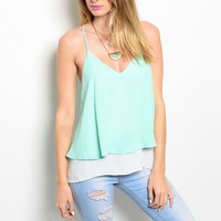 Layered V-Neck Chiffon Top in Mint