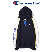 Champion New fashion letter print hooded long sleeve sweater Black
