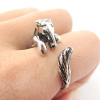 Detailed Horse Pony Animal Wrap Around Ring in Shiny Silver   US Size 4 to 9