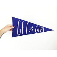 Get It Girl Pennant Flag in Blue and White
