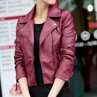 Zip Sleeve Notched Collar Fall Faux Leather Jacket