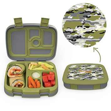 Bentgo Kids Prints (Camouflage) - Leak-Proof, 5-Compartment Bento-Style Kids Lunch Box - Ideal Portion Sizes for Ages 3 to 7 - BPA-Free and Food-Safe Materials Camouflage