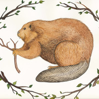 Beaver Original Watercolor Painting - with decorative branch border