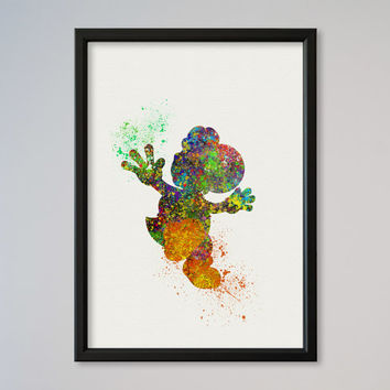 Yoshi Super Mario Poster Watercolor Art Giclee Print Art Picture Supermario painting