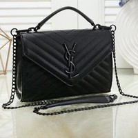 """YSL"" Saint Laurent  Women's Wild Lingge Embroidery Crossbody Bag Shoulder Bag Chain Bag Black"