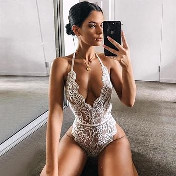 Backless Halter Lace Bodysuit Transparent Female Body Hot Sexy Teddies Jumpsuits Women Deep V Sheer Bodysuits