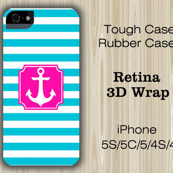 Blue Stripes Pink Anchor iPhone 6/5S/5C/5/4S/4 Case