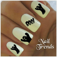 Ghost Nail Decal. 20 Vinyl Stickers Halloween Nail Art
