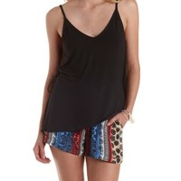 Black Wrap-Back Tank Top by Charlotte Russe