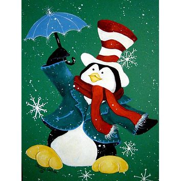 Just Dropping In To Say Hello Christmas Penguin  Flag Canvas House Size PJC1015CHF