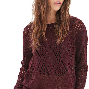 Open-Knit Pom Pom Sweater