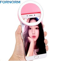 Fornorm USB Rechargeable battery 4 levels SELFIE LED CAMERA PHONE RING LIGHT For Iphone Samsung Smartphone for Christmas Gift