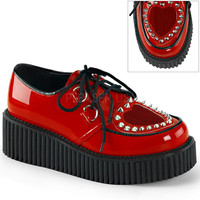 Demonia Red Patent Two Inch Stud Creepers