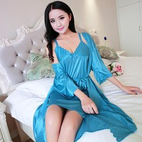 New Summer sexy silk Nightwear Two piece Lace Home wear clothes lovely Nightgowns Sleepwear Women's Sleep & Lounge Sleepshirts