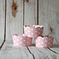Pink and White Hearts Cupcake Wrappers, Reversible Cake Wraps,  Pink Dotted Lines Cupcake Decoration