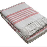 Vintage Style Blanket, Hand Loomed,100% Cotton. Beach Cottage Chic