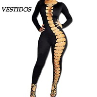Rompers Womens Jumpsuit 2016 Sexy Overalls Long Romper Bandage Hollow Out Bodycon Bodysuit Sexy Club Party Women Black Jumpsuit