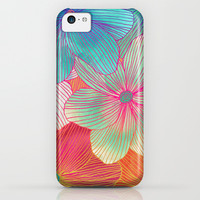 Between the Lines - tropical flowers in pink, orange, blue & mint iPhone & iPod Case by Micklyn